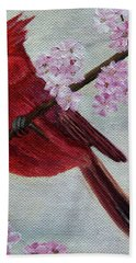 Cardinal In Cherry Blossoms Bath Towel by Jane Axman