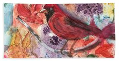 Cardinal In Flowers Bath Towel