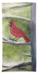 Cardinal In My Pine Tree Bath Towel