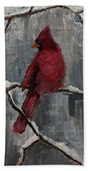 Cardinal North Carolina State Bird In Snow Bath Towel by Gray Artus