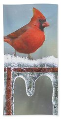 Cardinals And Icicles Bath Towel by Janette Boyd