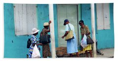 Hand Towel featuring the photograph Caribbean Blue, Speightstown, Barbados by Kurt Van Wagner