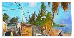 Bath Towel featuring the painting Caribbean Scenes - Beach Village by Wayne Pascall