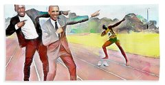 Caribbean Scenes - Obama And Bolt In Jamaica Hand Towel