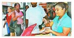 Caribbean Scenes - Doubles Vendor Bath Towel