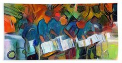 Caribbean Scenes - Steel Band Practice Hand Towel by Wayne Pascall