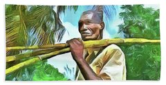 Hand Towel featuring the painting Caribbean Scenes - Sugarcane Meal by Wayne Pascall