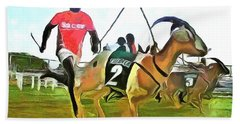 Hand Towel featuring the painting Caribbean Scenes - Goat Race In Tobago by Wayne Pascall
