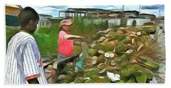Hand Towel featuring the painting Caribbean Scenes - De Coconut Vendor by Wayne Pascall