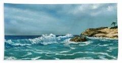 Bath Towel featuring the painting Caribbean Sea by Anastasiya Malakhova