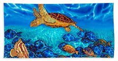 Caribbean Sea  Turtle And Reef  Fish Bath Towel