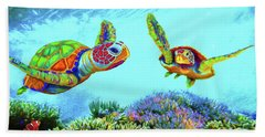 Caribbean Sea Turtle And Reef Fish Hand Towel