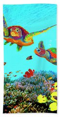 Caribbean Sea Turtles And Reef Fish Vertical Hand Towel