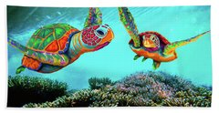 Caribbean Sea Turtles Bath Towel