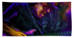 Hand Towel featuring the painting Carlos Santana by DC Langer