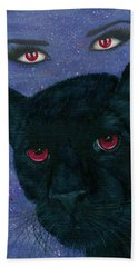 Bath Towel featuring the painting Carmilla - Black Panther Vampire by Carrie Hawks