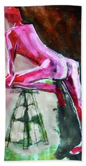 Hand Towel featuring the painting Carmine Figure No. 3 by Nancy Merkle