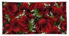 Carmine Roses Hand Towel
