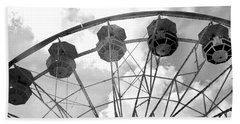 Bath Towel featuring the photograph Carnival Ferris Wheel Black And White Print - Carnival Rides Ferris Wheel Black And White Art Prints by Kathy Fornal