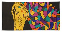 Bath Towel featuring the painting Carnival Stained Glass Tribal Horse by Susie WEBER