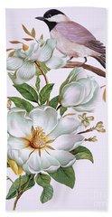 Carolina Chickadee And Magnolia Flower Bath Towel