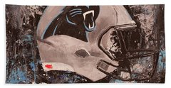 Hand Towel featuring the painting Carolina Panthers Football Helmet Painting Wall Art by Gray Artus