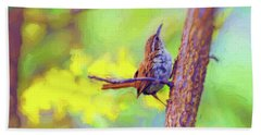 Hand Towel featuring the photograph Carolina Wren In The Autumn Forest by Kerri Farley