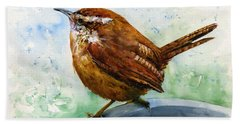 Carolina Wren Large Hand Towel by John D Benson