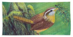 Hand Towel featuring the painting Carolina Wren Springtime by Fran Brooks