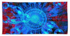 Bath Towel featuring the digital art Blue And Red Mandala by Fine Art By Andrew David