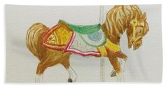 Bath Towel featuring the painting Carousel Horse by Stacy C Bottoms
