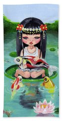 Carp And Girl Bath Towel by Akiko Okabe