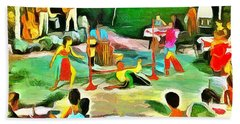 Bath Towel featuring the painting Carribean Scenes - Calypso And Limbo by Wayne Pascall