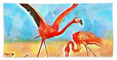 Bath Towel featuring the painting Caribbean Scenes - Trinidad's Scarlet Ibis/flamingo by Wayne Pascall
