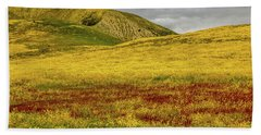Hand Towel featuring the photograph Carrizo  Plain Super Bloom 2017 by Peter Tellone