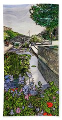 Hand Towel featuring the painting Carroll Creek 2016 by Ron Richard Baviello