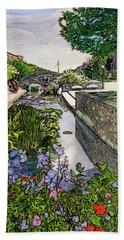Bath Towel featuring the painting Carroll Creek 2016 by Ron Richard Baviello