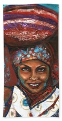 Hand Towel featuring the painting Carrying Basket by Alga Washington