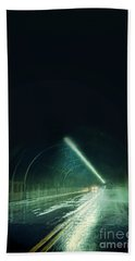 Cars In A Dark Tunnel Bath Towel by Jill Battaglia
