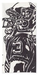 Bath Towel featuring the drawing Carson Palmer 1 by Jeremiah Colley