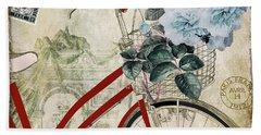 Carte Postale Vintage Bicycle Hand Towel