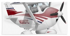 Cartoon Illustration Of A Cessna 182 Bath Towel