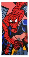 Cartoon Spiderman Bath Towel by Nora Shepley