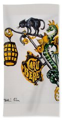 Caru Cu Bere - Antique Shop Sign Bath Towel