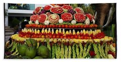 Bath Towel featuring the photograph Carved Watermelon, Surin Elephant by Mr Photojimsf