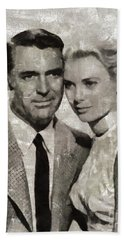 Cary Grant And Grace Kelly, Hollywood Legends Hand Towel