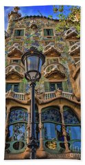 Bath Towel featuring the photograph Casa Batllo Gaudi by Henry Kowalski