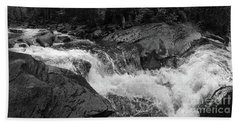 Cascade Stream Gorge, Rangeley, Maine  -70756-70771-pano-bw Hand Towel