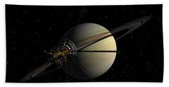 Cassini Orbiting Saturn Hand Towel