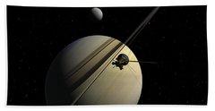 Cassini Passing Tethys Hand Towel